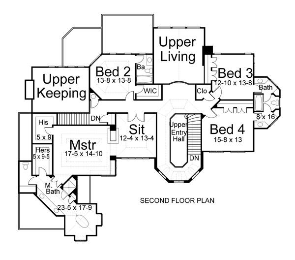 2nd Floor Plan image of grand five-bedroom house plan