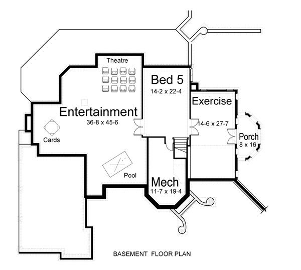 Basement Floor Plan image of grand five-bedroom house plan