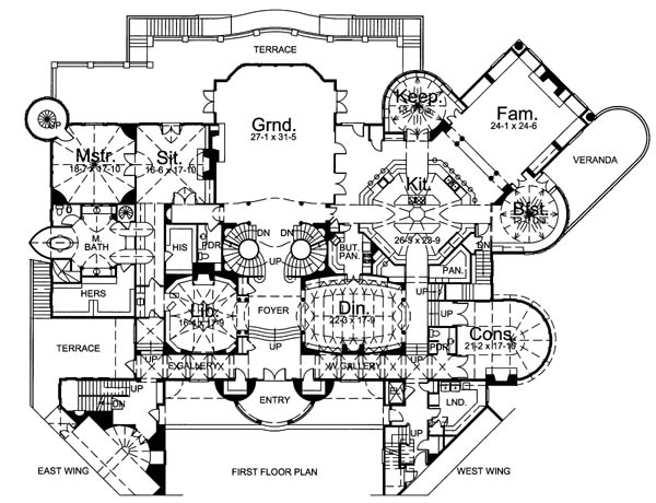 1st Floor Plan image of Featured House Plan: BHG - 6048