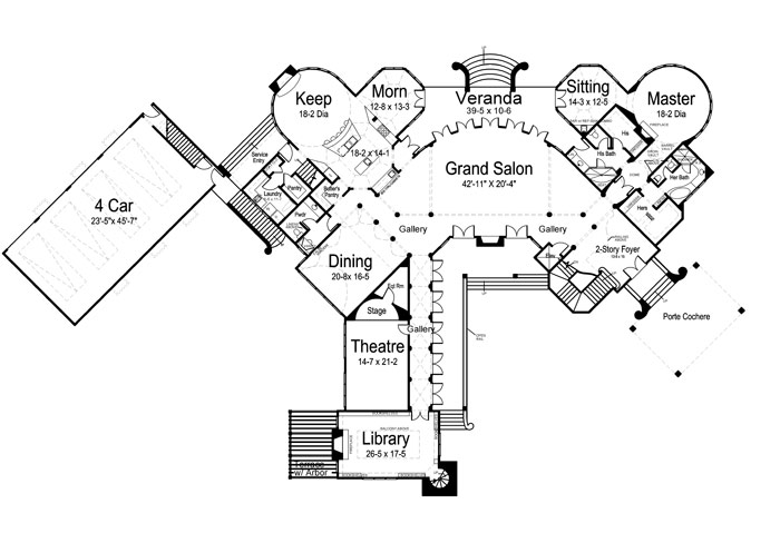 1st Floor Plan image of Featured House Plan: BHG - 6039