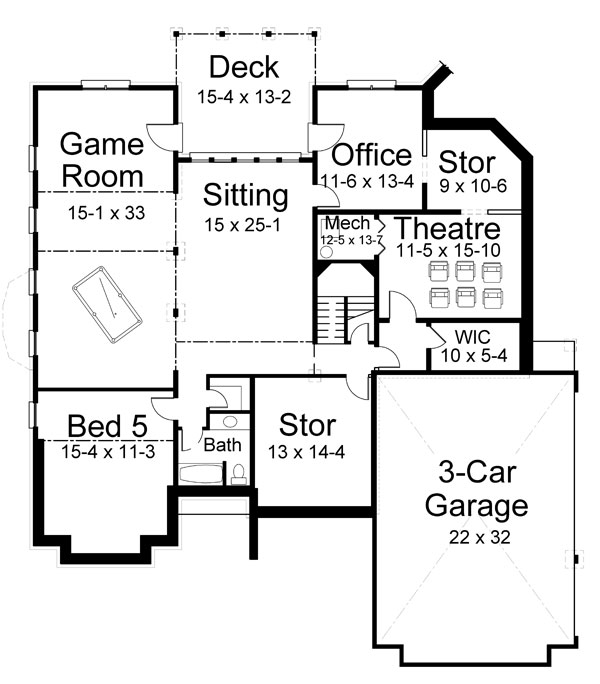 Basement Floor Plan image of Featured House Plan: BHG - 7219