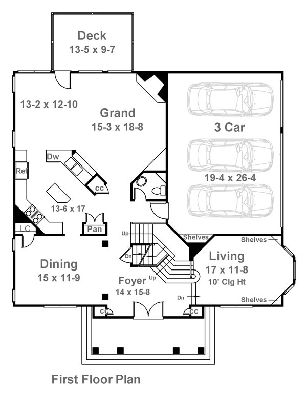 1st Floor Plan image of Featured House Plan: BHG - 7898