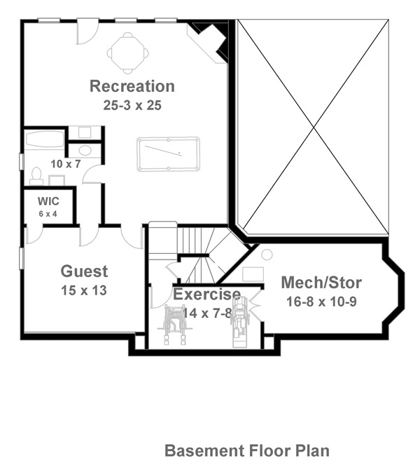 Basement Floor Plan image of Featured House Plan: BHG - 7898