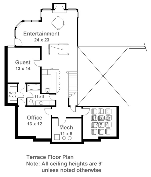Terrace Floor Plan image of Featured House Plan: BHG - 7140