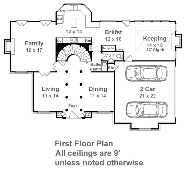 1st Floor Plan image of Featured House Plan: BHG - 7143