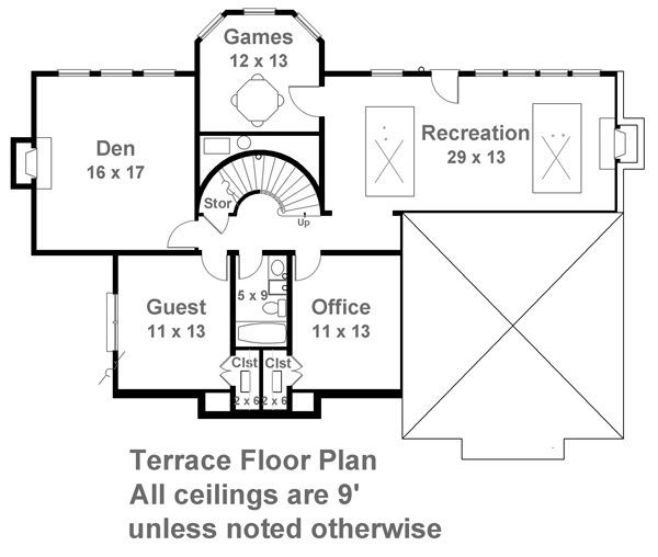 Terrace Floor Plan image of Featured House Plan: BHG - 7143