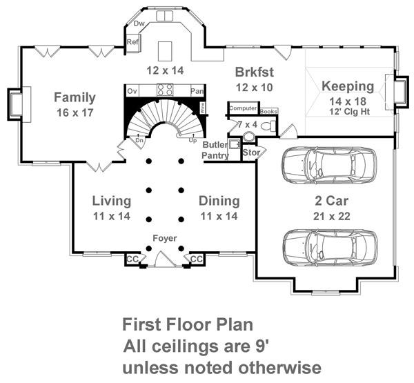 1st Floor Plan image of Featured House Plan: BHG - 7937