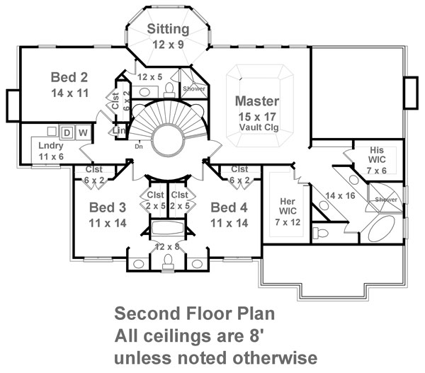 2nd Floor Plan image of Featured House Plan: BHG - 7937