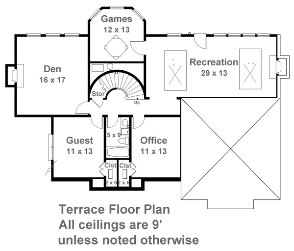 Terrace Floor Plan image of Featured House Plan: BHG - 7937