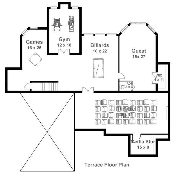 Terrace Floor Plan image of Featured House Plan: BHG - 7972