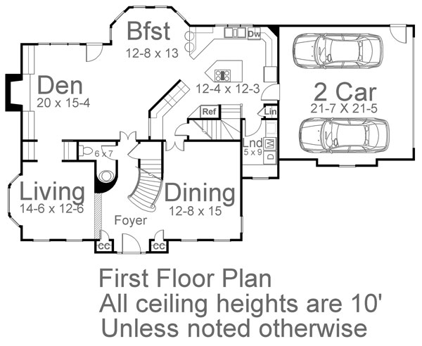 1st Floor Plan image of Featured House Plan: BHG - 5984