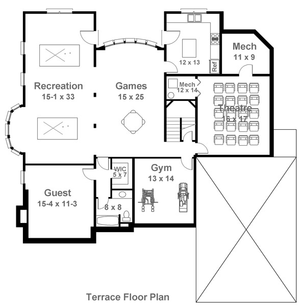 Terrace Floor Plan image of Featured House Plan: BHG - 5991
