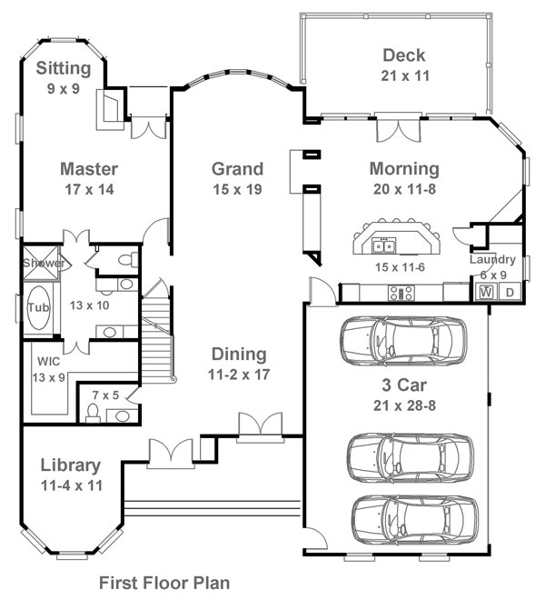 1st Floor Plan image of Featured House Plan: BHG - 6144
