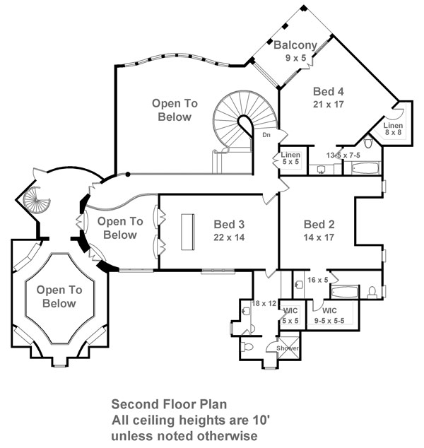 2nd Floor Plan image of Featured House Plan: BHG - 6014