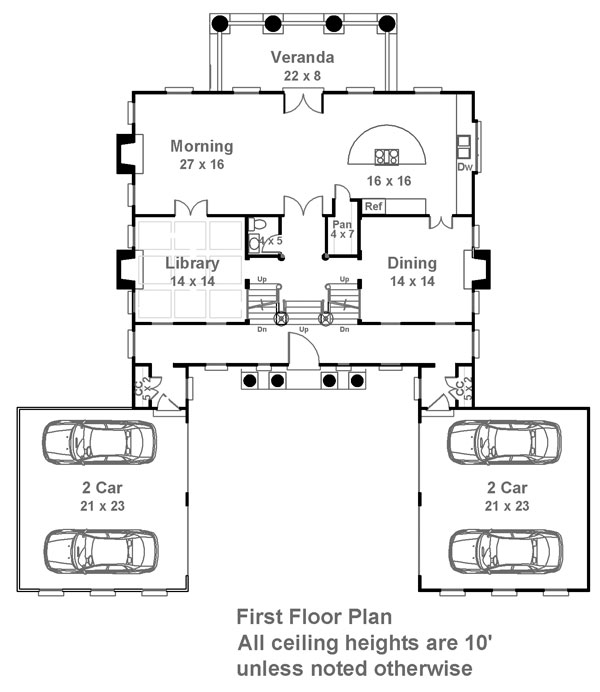 1st Floor Plan image of Featured House Plan: BHG - 6481