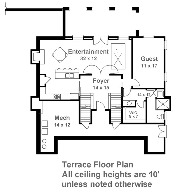 Terrace Floor Plan image of Featured House Plan: BHG - 6481