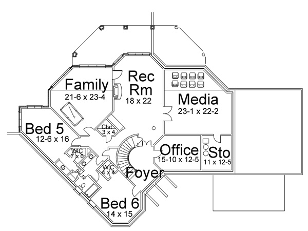 Basement Floor Plan image of Featured House Plan: BHG - 6155