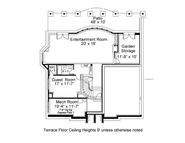 Terrace Floor Plan image of Featured House Plan: BHG - 7164