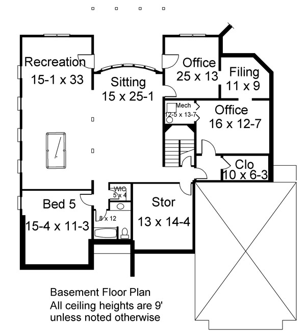 Basement Floor Plan image of Featured House Plan: BHG - 6159