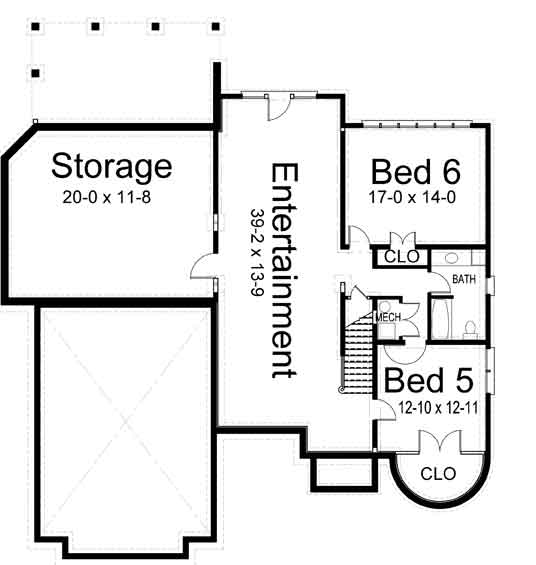 Basement Floor Plan image of Featured House Plan: BHG - 6874