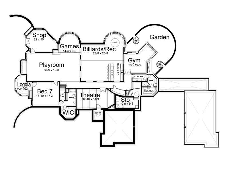 Basement Floor Plan image of Featured House Plan: BHG - 6040