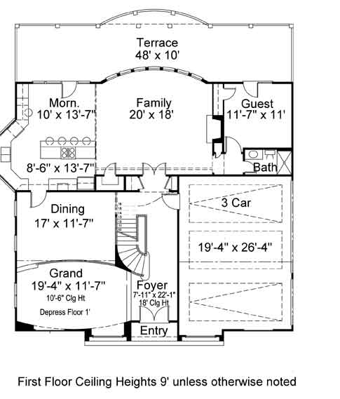 1st Floor Plan image of Featured House Plan: BHG - 7164