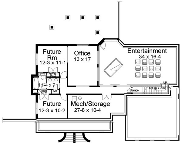 Basement Floor Plan image of Featured House Plan: BHG - 6478