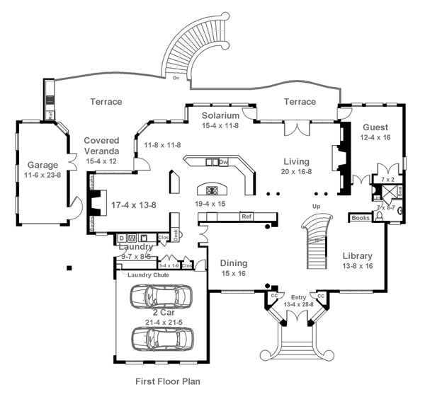 First Floor Plan image of Featured House Plan: BHG - 6017
