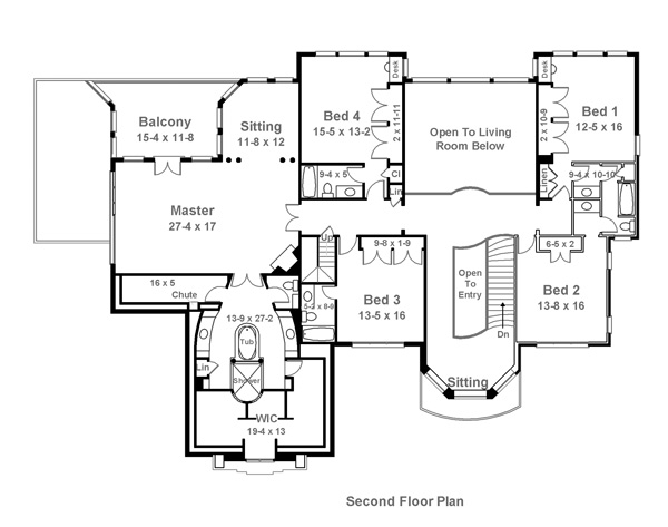 Second Floor Plan image of Featured House Plan: BHG - 6017