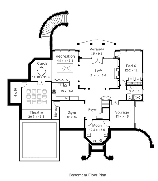 Basement Floor Plan image of Featured House Plan: BHG - 6017