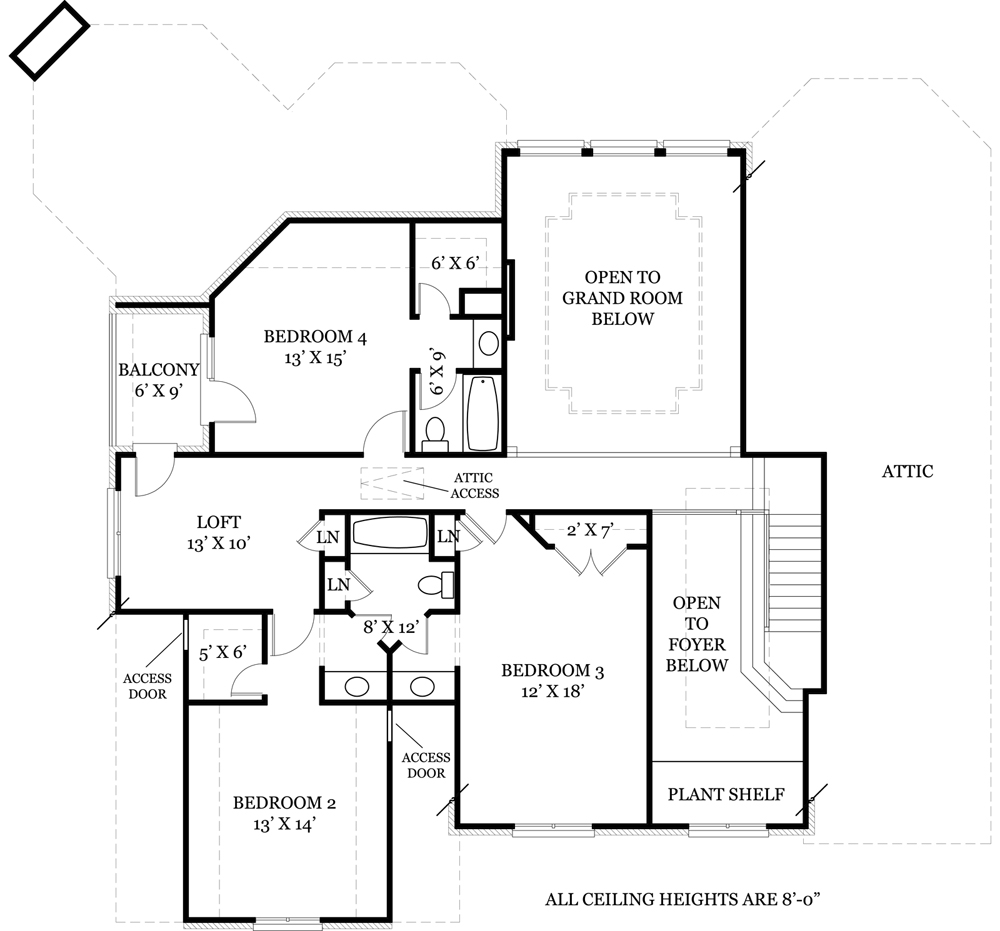 Second Floor Plan image of Featured House Plan: BHG - 7930