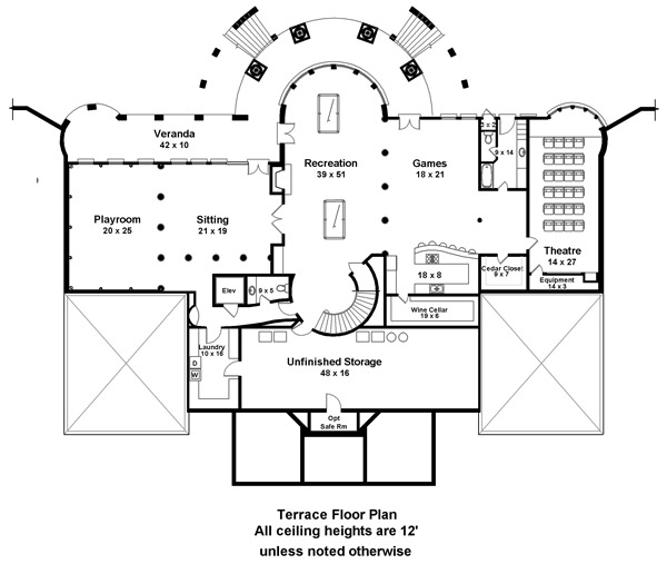 Basement Floor Plan image of Featured House Plan: BHG - 6138