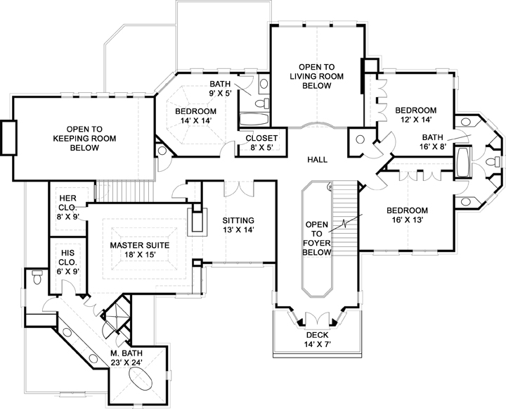 Second Floor Plan image of Featured House Plan: BHG - 6163