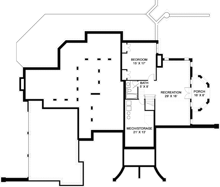 Basement Floor Plan image of Featured House Plan: BHG - 6163