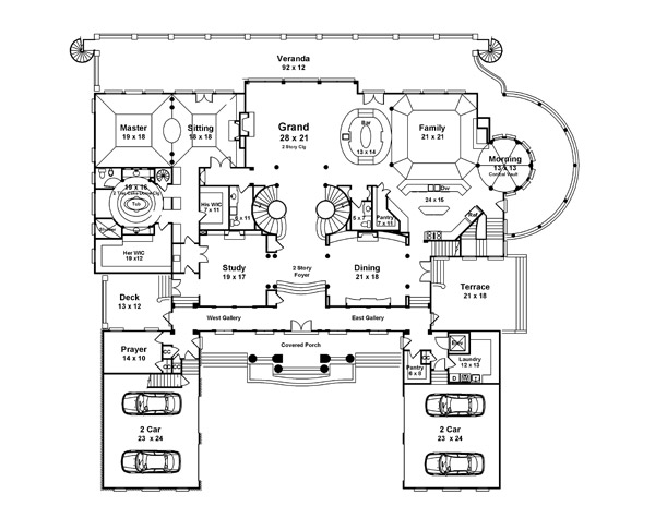 First Floor Plan image of Featured House Plan: BHG - 6046