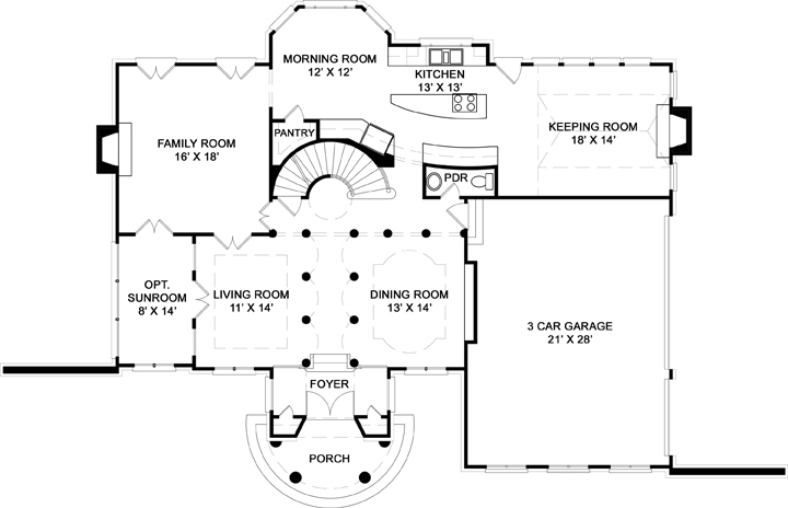 First Floor Plan image of Featured House Plan: BHG - 7975