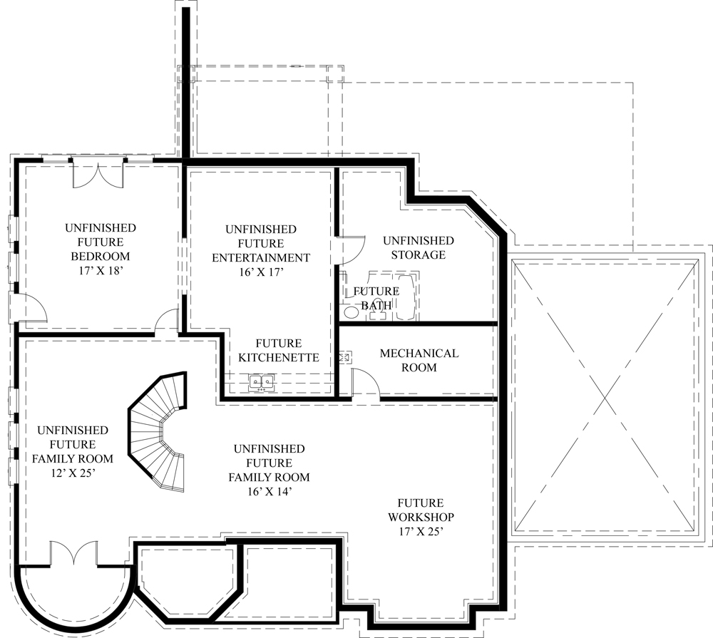 Basement Floor Plan image of Featured House Plan: BHG - 4529