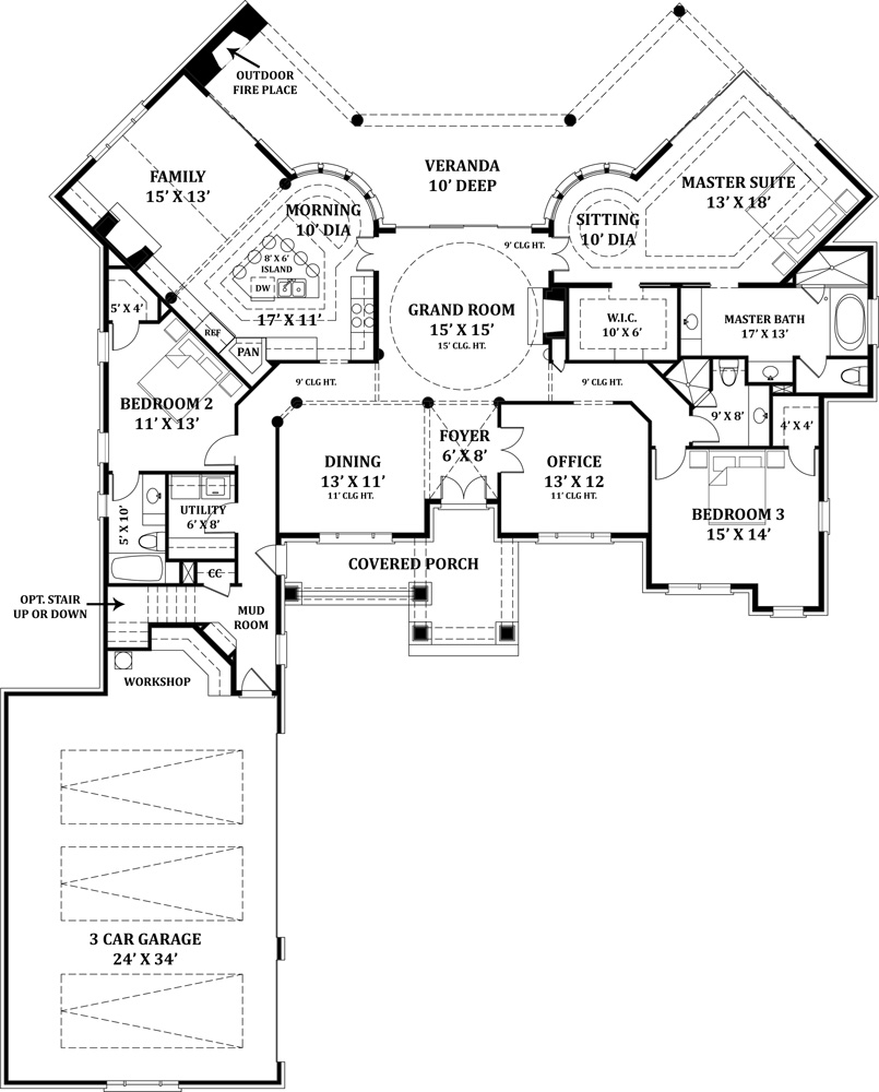 First Floor Plan image of Featured House Plan: BHG - 4664
