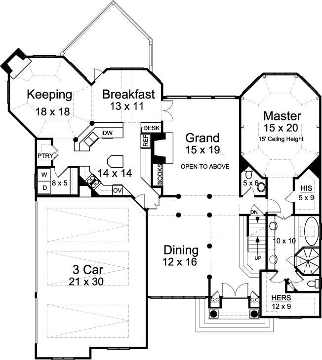 First Floor Plan image of Featured House Plan: BHG - 7695