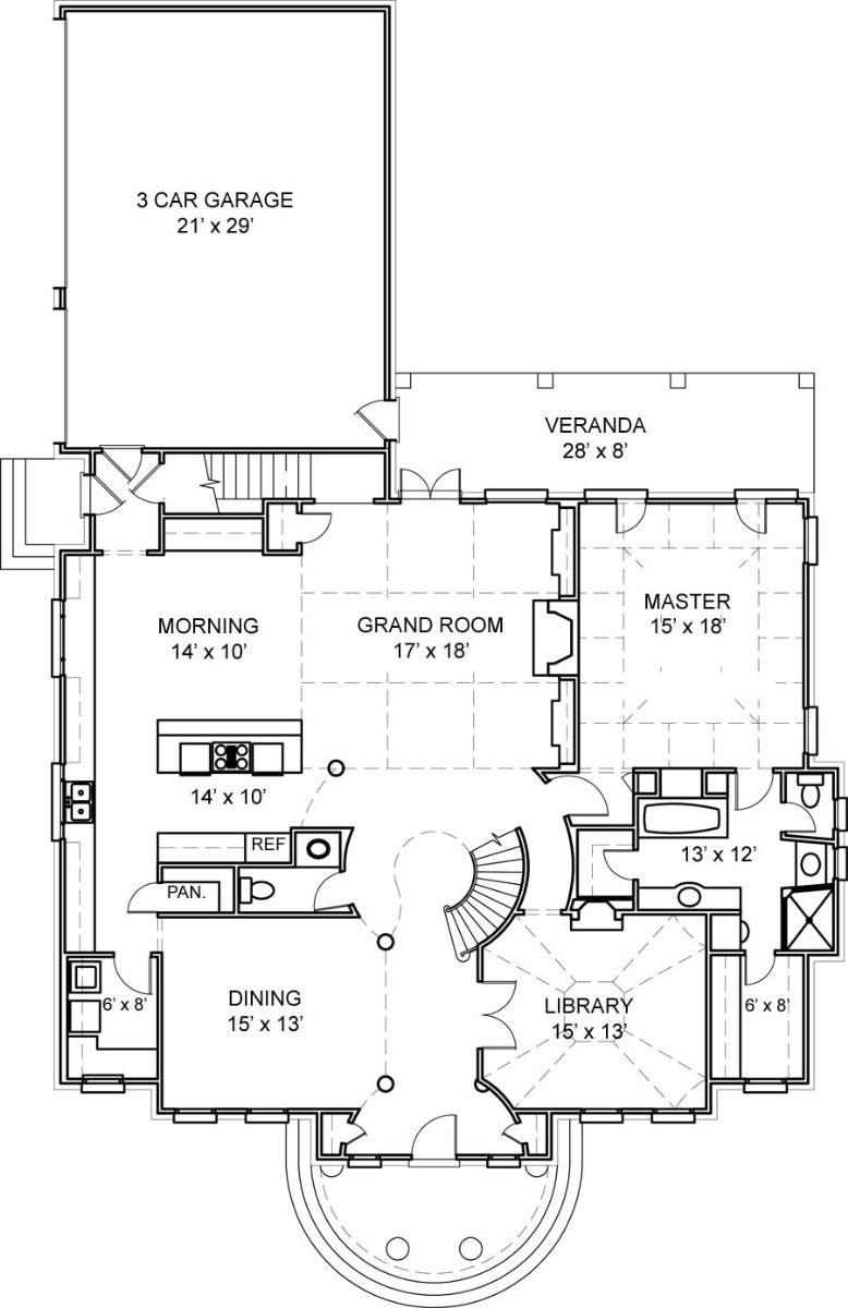 First Floor Plan image of Featured House Plan: BHG - 5992