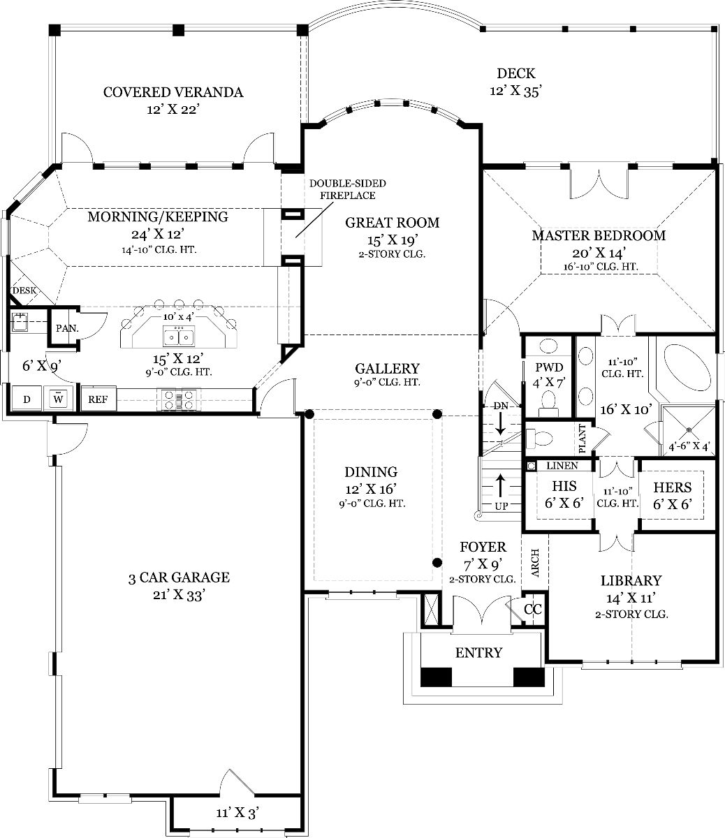 First Floor Plan image of Featured House Plan: BHG - 7889