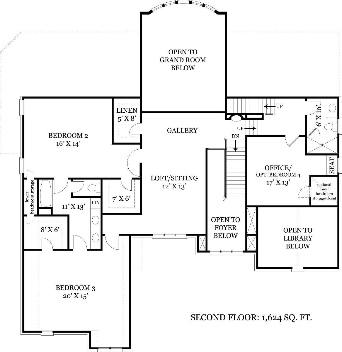 Second Floor Plan image of Featured House Plan: BHG - 7889