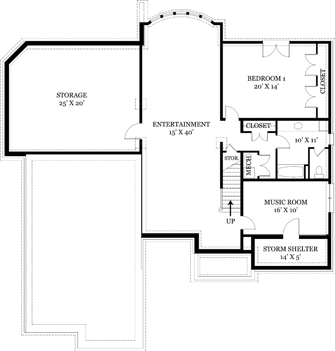 Basement Floor Plan image of Featured House Plan: BHG - 7889