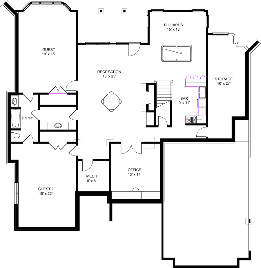 Basement Floor Plan image of Featured House Plan: BHG - 6158