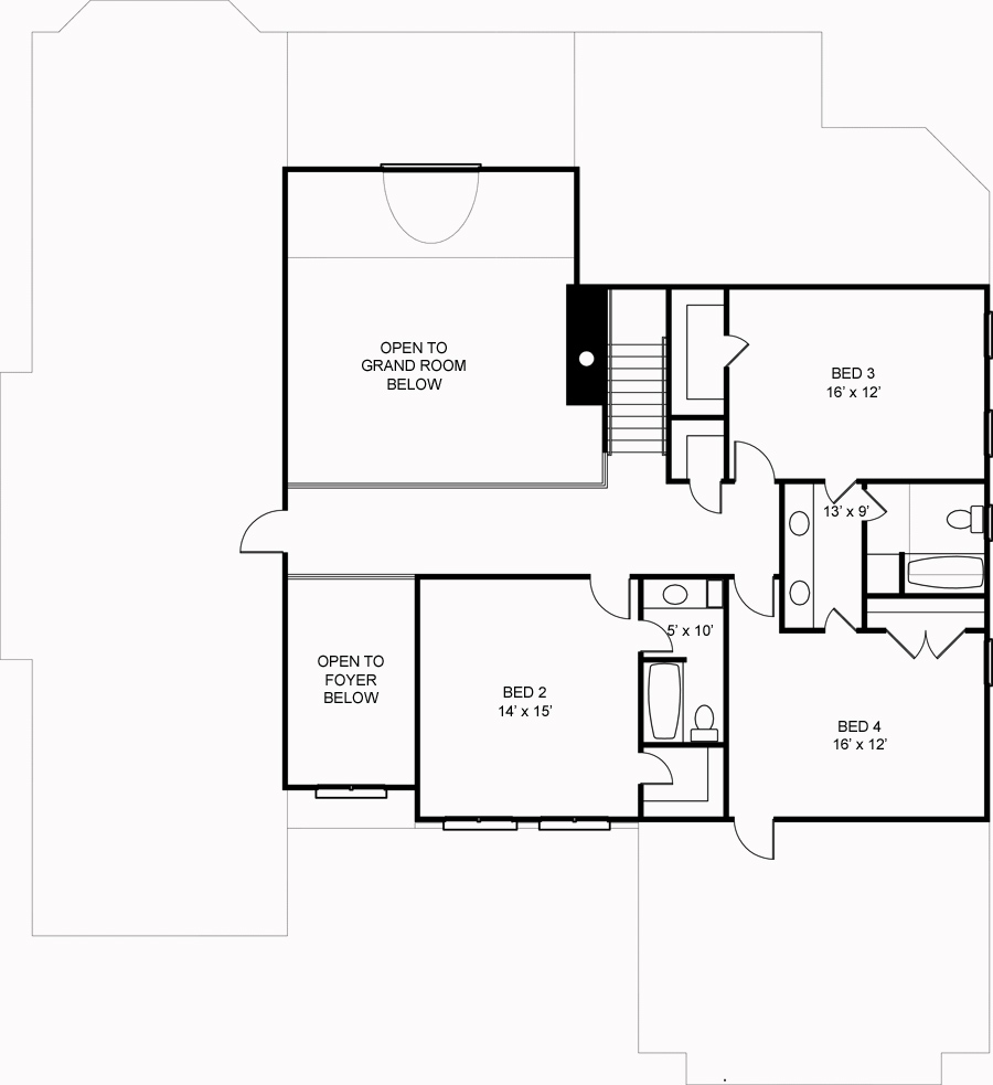 Second Floor Plan image of Featured House Plan: BHG - 6158