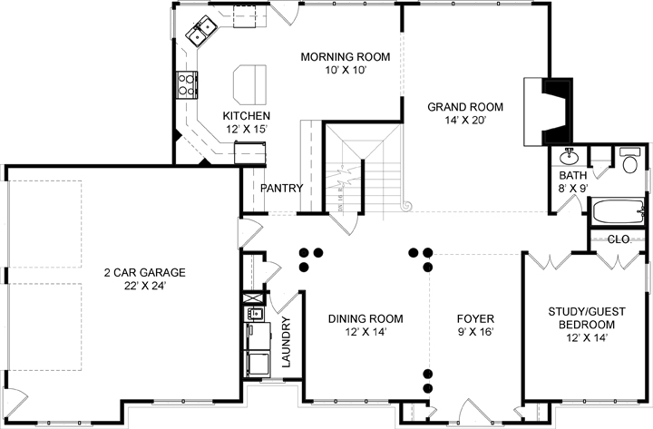 First Floor Plan image of Featured House Plan: BHG - 5962