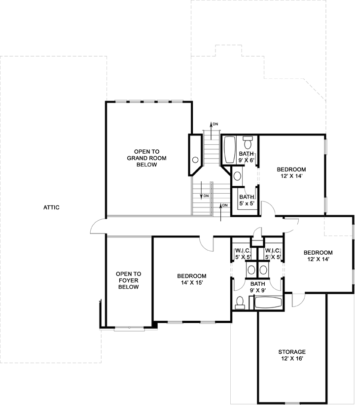 Second Floor Plan image of Featured House Plan: BHG - 6159