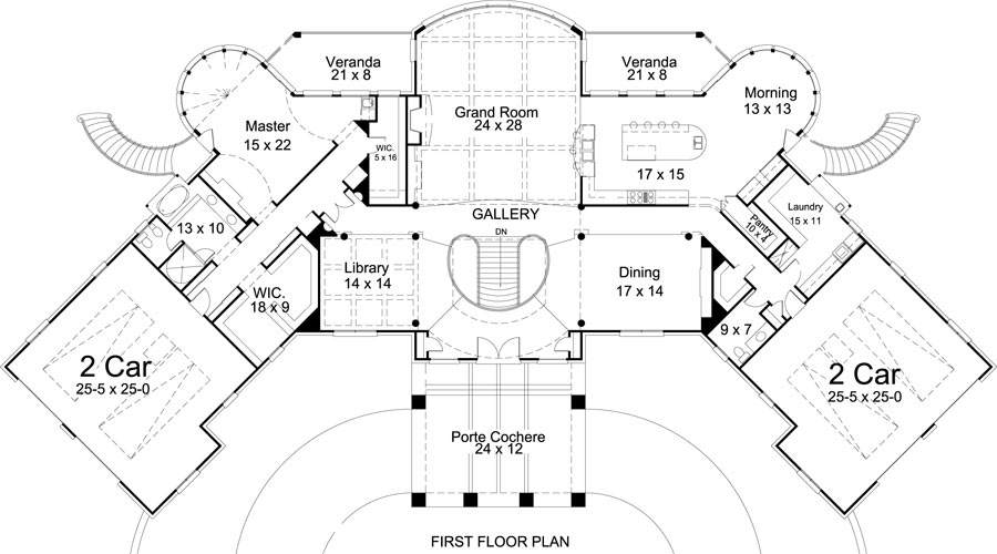 First Floor Plan image of Featured House Plan: BHG - 8033