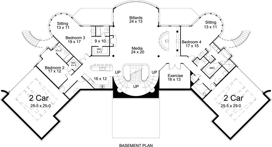 Basement Floor Plan image of Featured House Plan: BHG - 8033