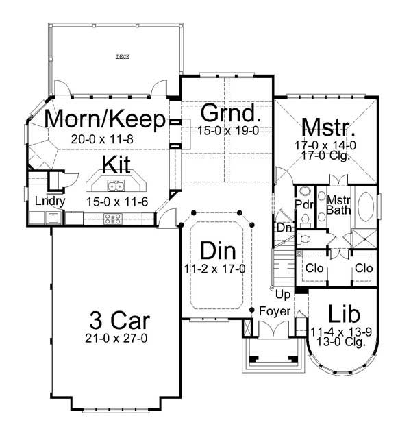 1st Floor Plan image of Featured House Plan: BHG - 6874